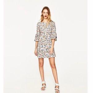 NWT Zara Floral Print Frilled Sleeve Mini Dress M
